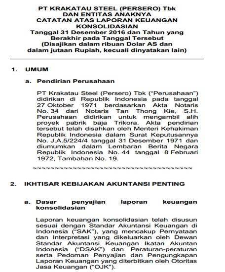 Contoh Laporan Keuangan Perusahaan Tbk - Catatan atas laporan keuangan
